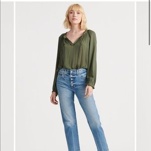 Lucky Brand Peasant Top in Thyme size S